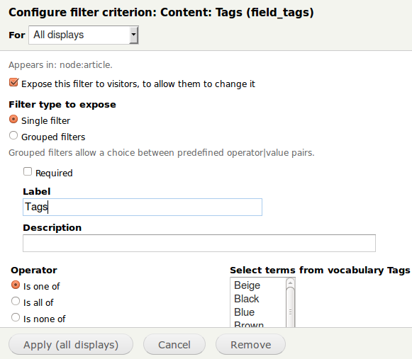 Views Exposed Filter Config Form